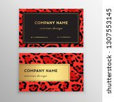 business card trendy leopard... | Shutterstock .eps vector #1307553145