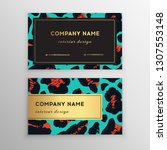 business card trendy leopard... | Shutterstock .eps vector #1307553148