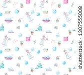 seamless pattern of watercolor ... | Shutterstock . vector #1307555008