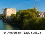 view of medieval fortified... | Shutterstock . vector #1307565625