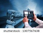 industry 4.0 concept   man hand ... | Shutterstock . vector #1307567638