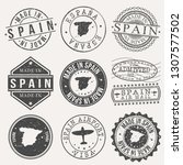 spain set of stamps. travel... | Shutterstock .eps vector #1307577502