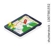 3d isometric mobile gps... | Shutterstock . vector #1307581552