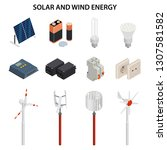 solar and wind energy... | Shutterstock . vector #1307581582