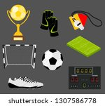 soccer set of icons with field  ... | Shutterstock . vector #1307586778