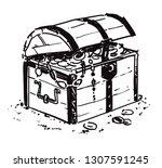 treasure chest.black and white... | Shutterstock .eps vector #1307591245