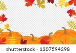 autumn leaves and pumpkins... | Shutterstock . vector #1307594398