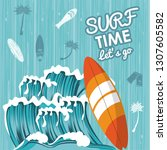 surf time card | Shutterstock .eps vector #1307605582