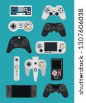 videogame gamepads and consoles | Shutterstock .eps vector #1307606038