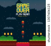 videogame game over concept | Shutterstock .eps vector #1307606125