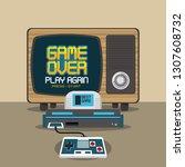 videogame pixelated concept | Shutterstock .eps vector #1307608732