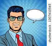 pop art businessman | Shutterstock .eps vector #1307610565