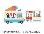 food stands cartoon | Shutterstock .eps vector #1307623822