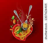 recipe for cooking pasta. hot... | Shutterstock .eps vector #1307626405