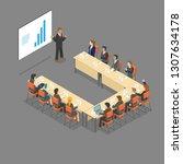 isometric u   shape meeting... | Shutterstock .eps vector #1307634178
