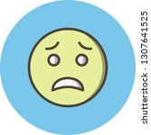 vector scared emoji icon    Shutterstock .eps vector #1307641525