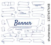 doodle set of ribbons   banners ... | Shutterstock .eps vector #1307647648