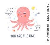 octopus vector card with hand...   Shutterstock .eps vector #1307648752