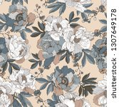 seamless pattern with elegant... | Shutterstock .eps vector #1307649178