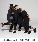 hip hop dancers moving and... | Shutterstock . vector #1307683108