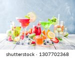 selection summer fruit and... | Shutterstock . vector #1307702368