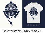 astronaut in space. cosmonaut...   Shutterstock .eps vector #1307705578