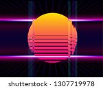 retro wave background place for ... | Shutterstock .eps vector #1307719978