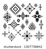 aztec  tribal shapes  symbols... | Shutterstock .eps vector #1307738842