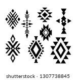 aztec  tribal shapes  symbols... | Shutterstock .eps vector #1307738845
