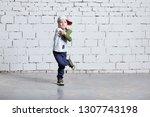 child boy dancing. cool kid hip ... | Shutterstock . vector #1307743198