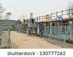 building new stone houses - stock photo