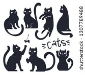 set of vector cat silhouettes.... | Shutterstock .eps vector #1307789488