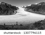 Black and white photograph of the majestic ice mass of Salmon glacier near Hyder in Alaska, USA. The Salmon glacier is one of the many receding glaciers under influence of climate change.