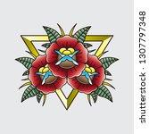 vintage tattoo flash flower ... | Shutterstock .eps vector #1307797348