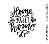 hand drawn lettering with... | Shutterstock .eps vector #1307822092