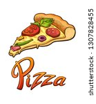 pizza lettering and... | Shutterstock .eps vector #1307828455