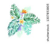 floral arrangement with tropic... | Shutterstock .eps vector #1307853805