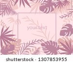 pink tropical background with... | Shutterstock .eps vector #1307853955