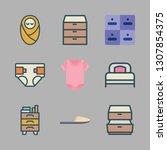 bedroom icon set. vector set... | Shutterstock .eps vector #1307854375