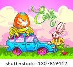 easter vector postcard in... | Shutterstock .eps vector #1307859412
