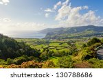 Aerial view to fields over Atlantic ocean, San Miguel, Azores, Portugal - stock photo