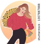 vector of a beautiful brunette ... | Shutterstock .eps vector #1307887888