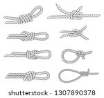 set of nautical rope knots.... | Shutterstock .eps vector #1307890378