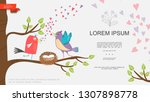 flat natural romantic template | Shutterstock .eps vector #1307898778