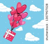 valentines day card with gift... | Shutterstock .eps vector #1307907028