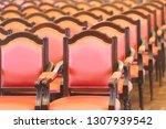 row of old elegant red wooden...   Shutterstock . vector #1307939542