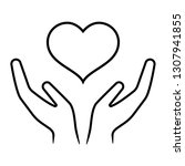 line icon of hands carefully... | Shutterstock . vector #1307941855
