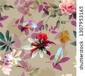 seamless floral background... | Shutterstock .eps vector #1307953165