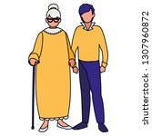 cute grandmother with son... | Shutterstock .eps vector #1307960872