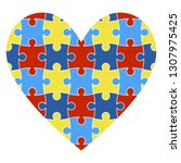 autism awareness heart  ... | Shutterstock .eps vector #1307975425